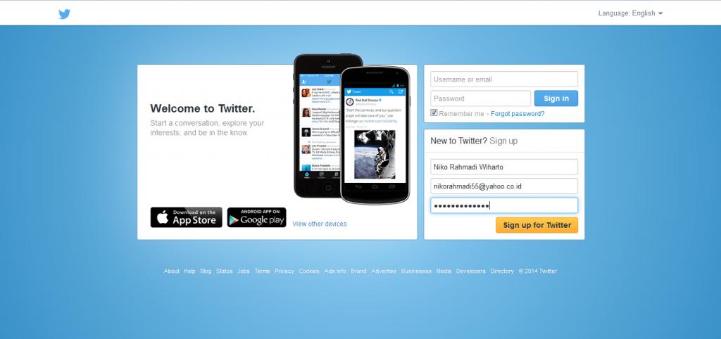 halaman awal twitter