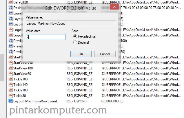 Cara Merubah Jumlah Baris pada Tile Start screen Windows 8 8.1
