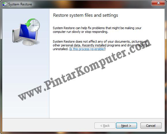 Cara Menggunakan System Restore pada Windows 7 (2)