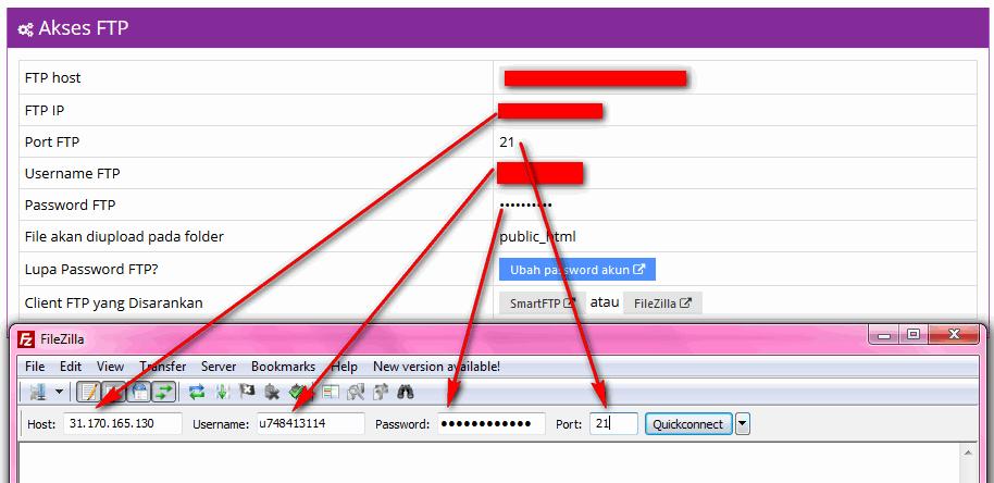 Cara Upload File Web Melalui FTP - Koneksi FTP