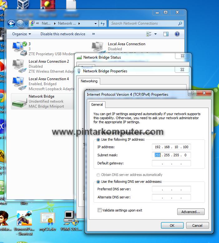Cara Setting Bridge Mode Untuk Dua Jaringan Pada Windows 7
