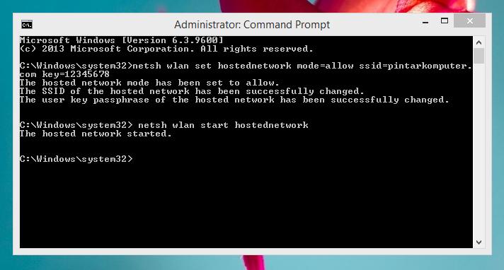 Cara Mudah Membuat Wifi Hotspot di Laptop Windows 8 dan 8.1 Melalui CMD