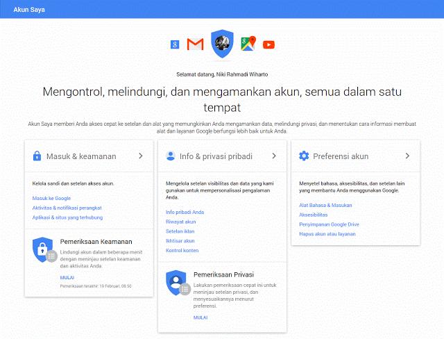 Dashboard Google - My Account