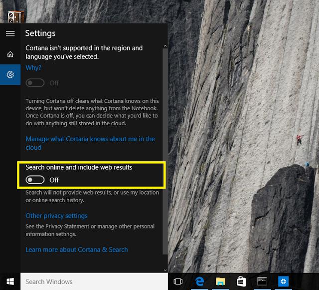 Cara Mudah Mematikan / Disable Pencarian Bing Pada Start Menu Windows 10