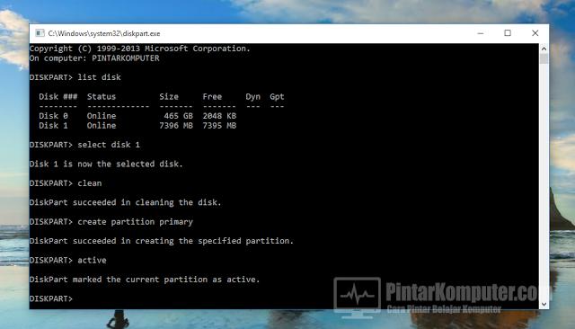 Cara Paling Mudah Membuat Bootable USB Windows Tanpa Software Tambahan (DISKPART)