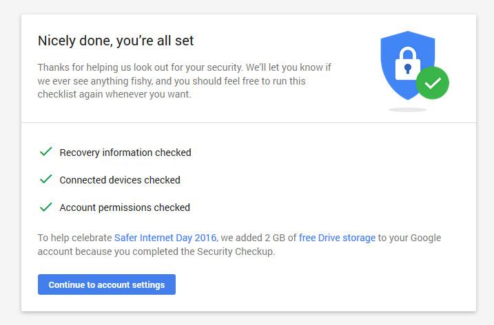 Google Menawarkan Space Drive Sebesar 2GB Jika User Melengkapi Security Checkup (1)