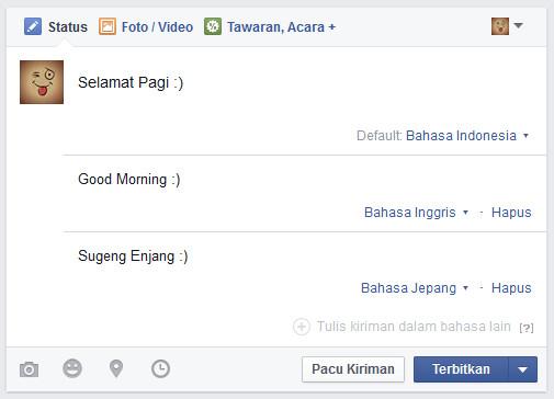 membuat postingan dalam multi bahasa di facebook