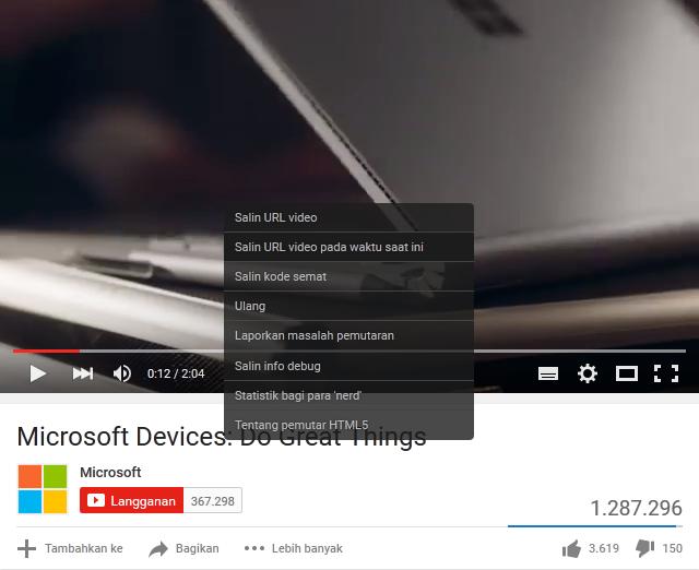 salin url video pada waktu saat ini
