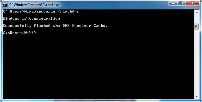 command prompt - ipconfig flushdns
