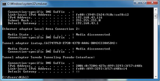 command prompt - ipconfig