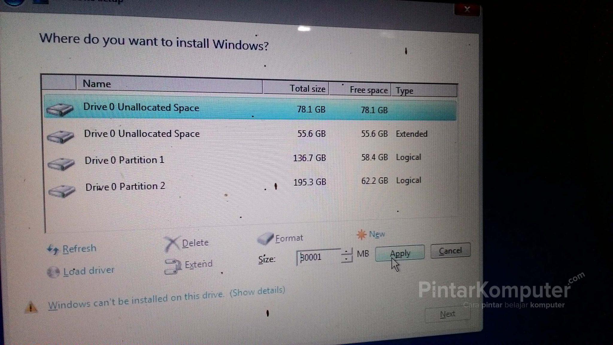 [Panduan Pemula] Cara yang Benar Membagi Partisi Hardisk Saat Menginstall Windows (7, 8, 10)