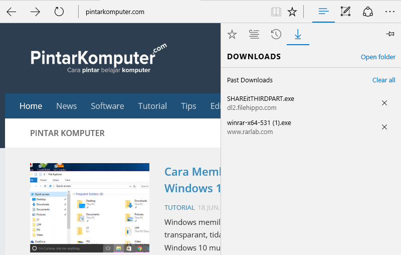mengubah lokasi folder download microsoft edge