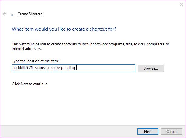 taskkill shortcut