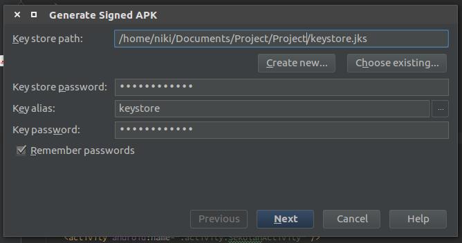 Generate Signed APK