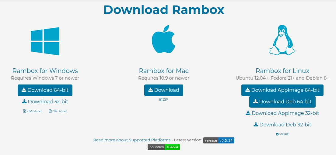 Rambox - Windows Linux MAC OS